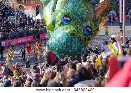 Nice, Cote D'azur, France - February 20 2019: Carnaval De Nice, This Years Theme King Of Cinema (roi