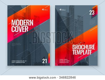 Red Brochure Design. A4 Cover Template For Brochure, Report, Catalog, Magazine. Layout With Bright C