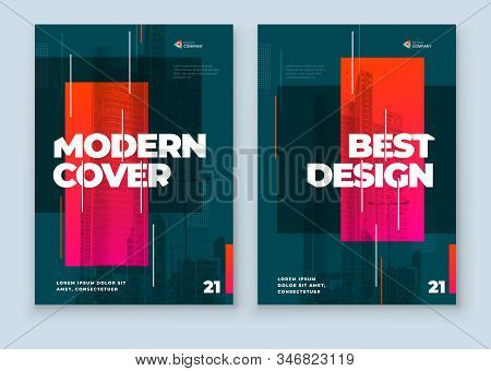Dark Brochure Design. A4 Cover Template For Brochure, Report, Catalog, Magazine. Layout With Bright