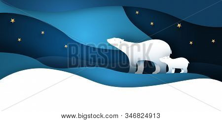 Polar Bear Mother And Bear Child Walking At The North Pole. Paper Art White Bear Vector Illustration