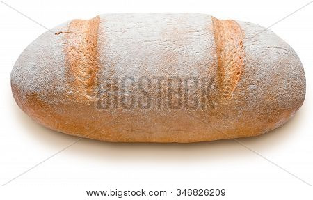 Rustic Rye Bread Whole. Isolated On White Background. 3/4 View.