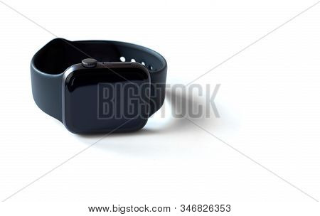 Saint-petersburg / Russia - January 24, 2020:  Apple Watch Series 4  Isolated On A White Background.
