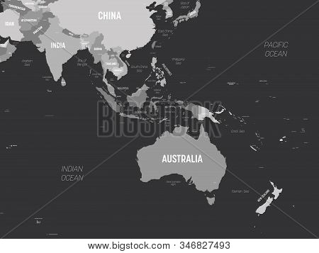 Australia And Southeast Asia Map - Grey Colored On Dark Background. High Detailed Political Map Of A