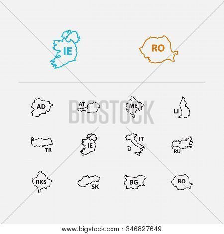 State Icons Set. Russia And State Icons With Turkey, Italy And Austria. Set Of Rome For Web App Logo
