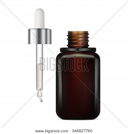 Eye Dropper Serum Bottle Mockup. Brown Glass Container For Face Care Moisture Liquid. Pipette With C