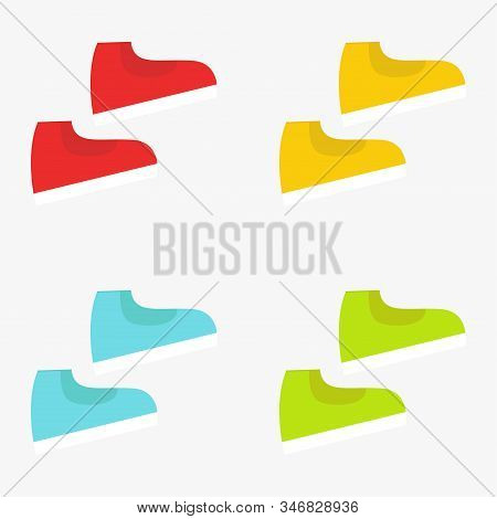 Set Of Multicolored Sports Sneakers. Pairs Of Shoes. Sneakers Icon. Vector Illustration. Eps 10.
