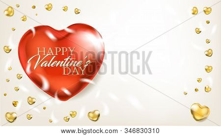 Elegance Ligh Banner With Big Red And Small Golden Hearts