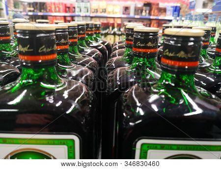 Many Bottles Of German Liquor Jägermeister Was Put Up For Sale In The Metro Ag Hypermarket On Januar