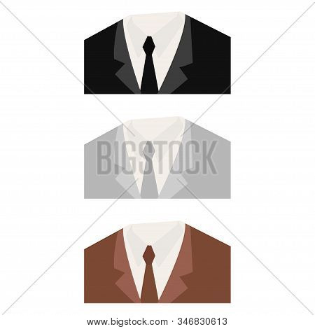 Fashionable Suits. Official Suits. Black, Brown And Gray Color Suit. Icon Suits. White Background. V