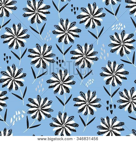 Childish Blue Sketchy Floral Seamless Pattern With Black And White Flowers, Hearts And Dots. Cute Sc