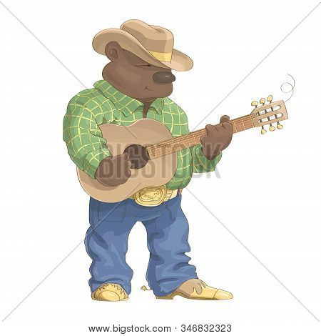 Stylish Bear In A Cowboy Suit And Hat Standing And Playing The Guitar. Illustration On White Backgro