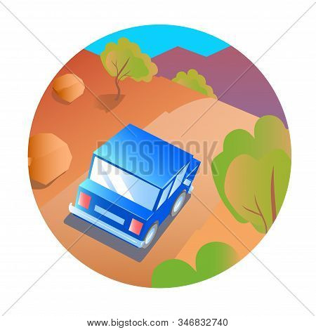 Blue Car Travels On The Road Through The Gorges And Rocks. Cartoon Style Illustration.