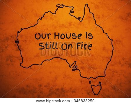 Outlined Australia Map Country Silhouette On Dirty Tan Background With Greta Thunbergs Message At Da