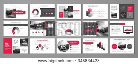 Red Abstract Presentation Slide Templates. Infographic Elements Template  Set For Web, Print, Annual