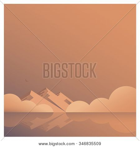 Beautiful And Calm Seascape. In The Distance Is A Shore With Mountains And Fog. Sunrise Or Sunset. S