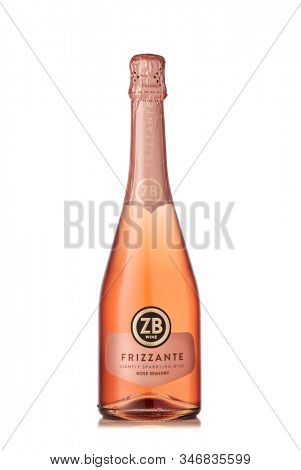St.Petersburg, Russia -  January 2020  - Bottle of semi-dry rose lightly sparkling wine ZB wine Frizzante  isolated on white background.