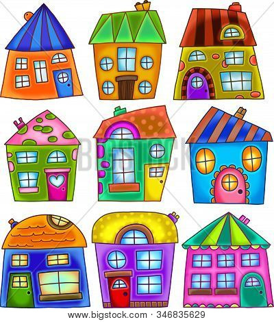 A Set Of Digitally Created Colorful Quirky Residential Houses.