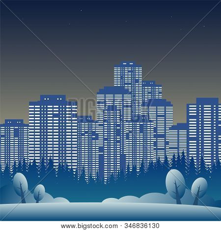 Winter. Forest Glade With Trees In The Snow. Behind Them Is A Large Evening City With Skyscrapers An