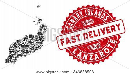 Shipping Collage Lanzarote Islands Map And Distressed Stamp Watermark With Fast Delivery Badge. Lanz