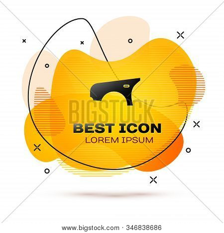 Black Car Fender Icon Isolated On White Background. Abstract Banner With Liquid Shapes. Vector Illus