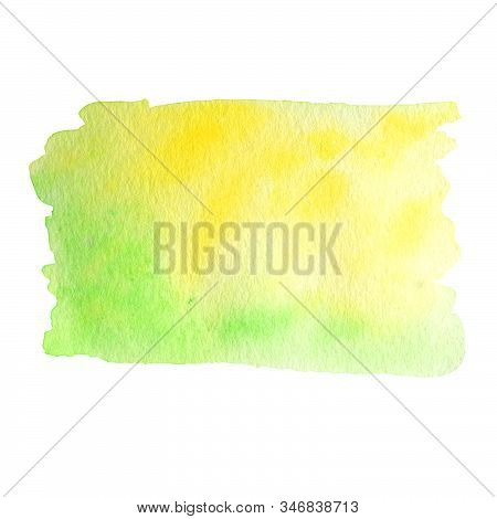 Watercolor Hand Painted Abstract Yellow Green Background. Subtle Ink Gradient On Textured Paper. Cre