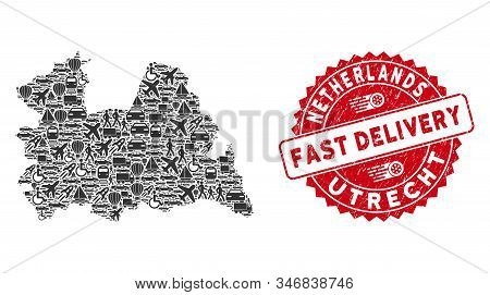 Logistics Mosaic Utrecht Province Map And Distressed Stamp Seal With Fast Delivery Badge. Utrecht Pr