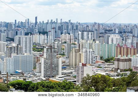 Aerial View Of Bras Neighborhood Region Of The City Of Sao Paulo Sp Brazil During The Day. View Of A