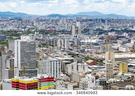Sao Paulo Sp, Brazil - November 22, 2019: Aerial View Of The Historic Downtown And The Bras Neighbor