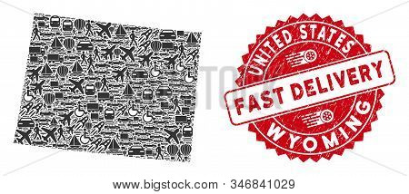 Shipment Collage Wyoming State Map And Grunge Stamp Watermark With Fast Delivery Text. Wyoming State