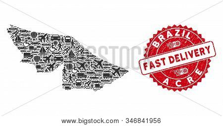 Delivery Collage Acre State Map And Corroded Stamp Seal With Fast Delivery Words. Acre State Map Col
