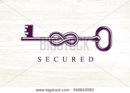 Knotted Key Allegorical Symbol Of Keep Secret, Vintage Antique Turnkey In A Knot, Defense And Securi