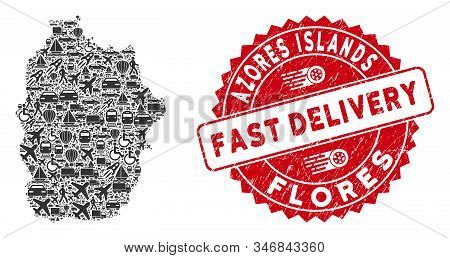 Delivery Mosaic Flores Island Of Azores Map And Distressed Stamp Seal With Fast Delivery Badge. Flor