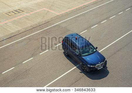 Kyiv, Ukraine - June16th, 2019: Newest Big Luxury Bmw X7 Suv Car As Safety Car With Blinkers Light B