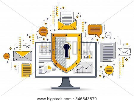 Shield Over Computer Monitor And Set Of Icons, Private Data Security Concept, Antivirus Or Firewall,