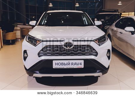 Ufa, Russia, 15 January, 2020: All-new Compact Crossovers Toyota Rav4 Premier At Toyota Car Standing