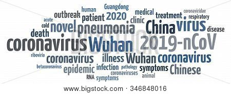 Wuhan Coronavirus Concept In Word Tag Cloud On White Background. Word Tag Cloud About Novel Coronavi