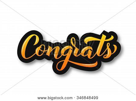 Congrats 3d Calligraphy Lettering Isolated On White. Congratulation Typography Poster. Easy To Edit