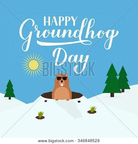 Groundhog Day Vector Illustration With Modern Calligraphy Hand Lettering And Cute Cartoon Marmot Cra