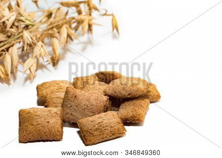 Dietary Cereal Pads On A White Background. Dietary Cereal Pads Isolated On White Background, Place F