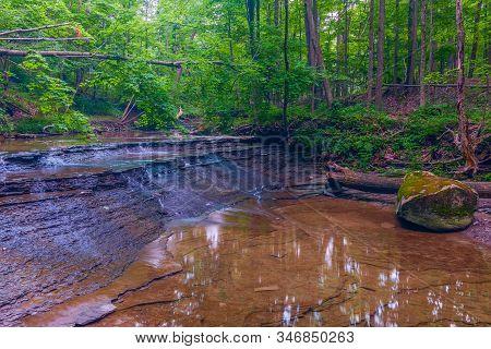 Small Cascading Waterfall On Deer Lick Creek Just Upstream From Bridal Veil Falls. Cuyahoga National