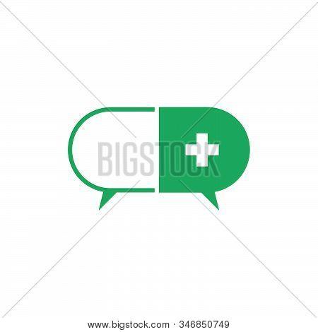 Letter C Plus Medical Capsule Medicine Talk Forum Symbol Logo Vector