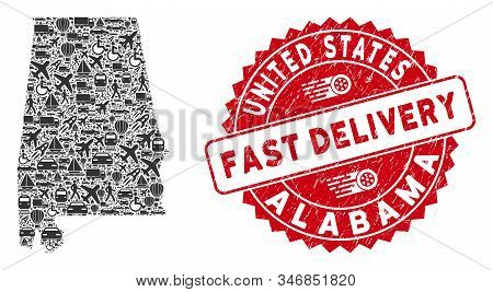 Transport Collage Alabama State Map And Corroded Stamp Watermark With Fast Delivery Message. Alabama