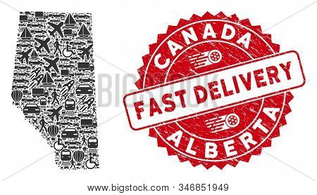 Transport Collage Alberta Province Map And Corroded Stamp Seal With Fast Delivery Badge. Alberta Pro