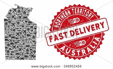 Delivery Collage Australian Northern Territory Map And Grunge Stamp Seal With Fast Delivery Words. A