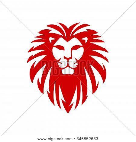 Custom Red Lion Head Logo Vector King Power Strength Sign Symbol Element