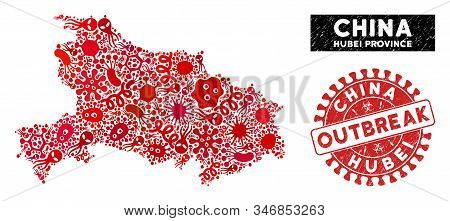 Infected Collage Hubei Province Map And Red Distressed Stamp Seal With Outbreak Message. Hubei Provi
