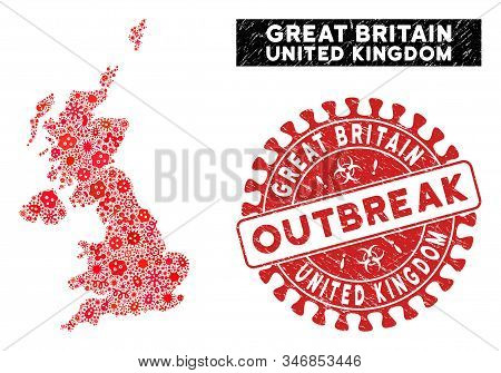 Pandemic Collage United Kingdom Map And Red Rubber Stamp Seal With Outbreak Phrase. United Kingdom M