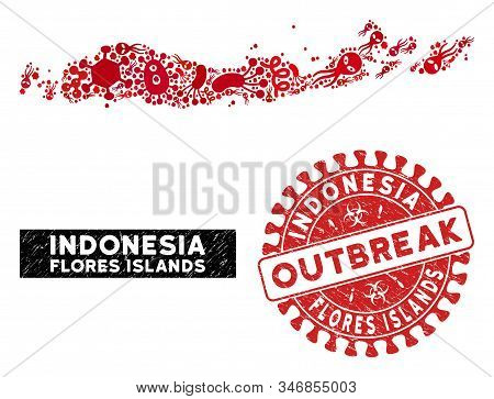 Outbreak Mosaic Flores Islands Of Indonesia Map And Red Rubber Stamp Seal With Outbreak Caption. Flo
