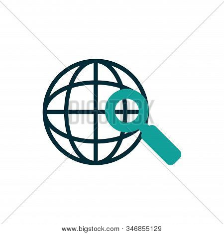 Global Sphere And Lupe Design, Communication Internet Connectivity Web Technology Social Media Netwo