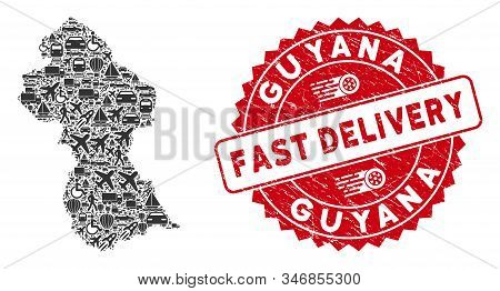 Transportation Collage Guyana Map And Corroded Stamp Watermark With Fast Delivery Words. Guyana Map